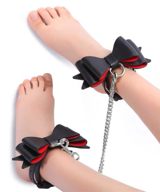 Prettybows Soft Lamb Leather Ankle Cuffs Set – Black/Red Leather & Silver Alloy