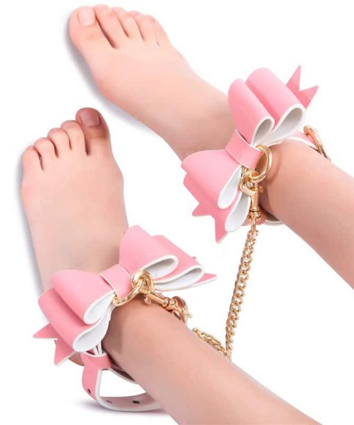 Prettybows Soft Lamb Leather Ankle Cuffs Set – Pink/White Leather & Golden Alloy