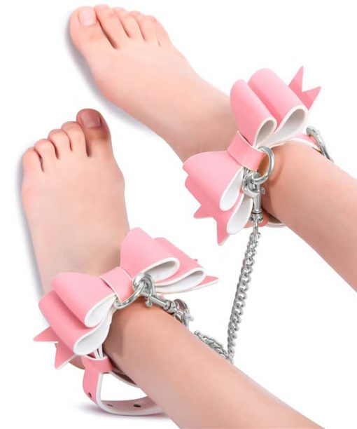 Prettybows Soft Lamb Leather Ankle Cuffs Set – Pink/White Leather & Silver Alloy