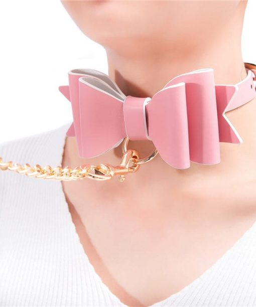 Prettybows Soft Lamb Leather Collar Leash Set – Pink/White Leather & Golden Alloy