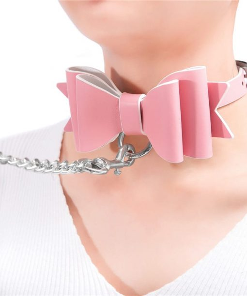 Prettybows Soft Lamb Leather Collar Leash Set – Pink/White Leather & Silver Alloy